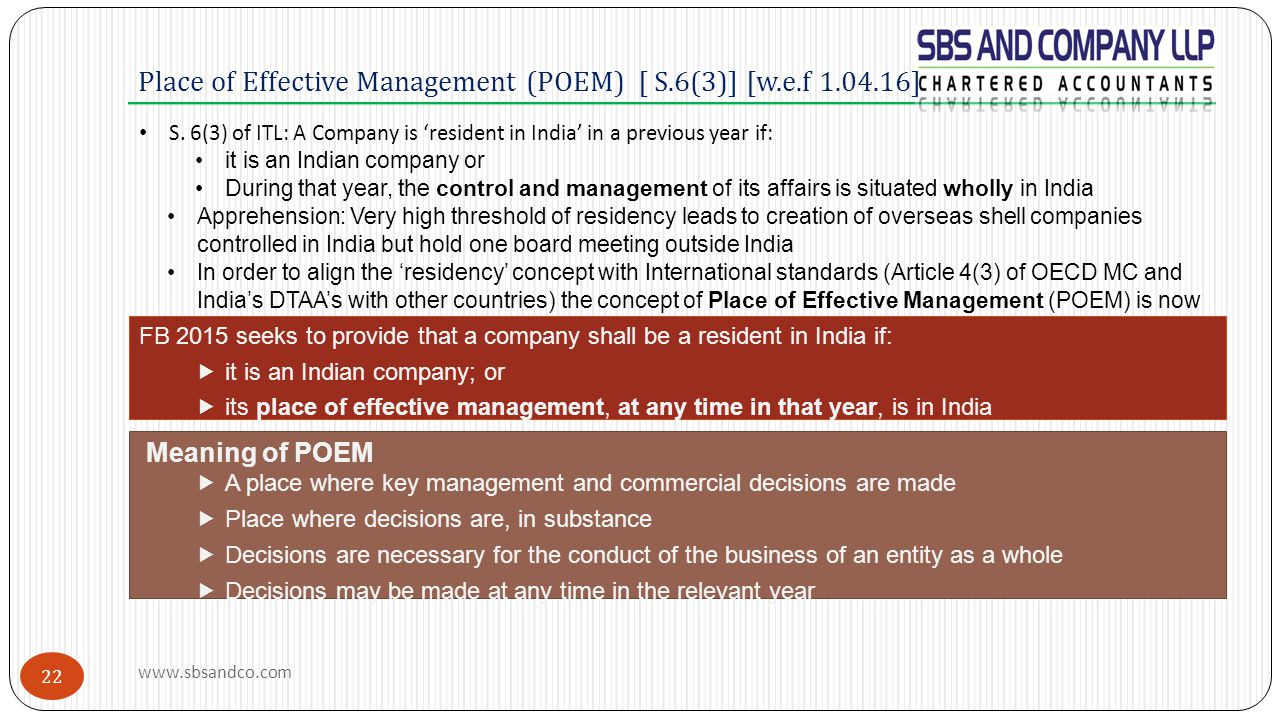 Place of Effective Management (POEM) [ S.6(3)] [w.e.f 1.04.16]